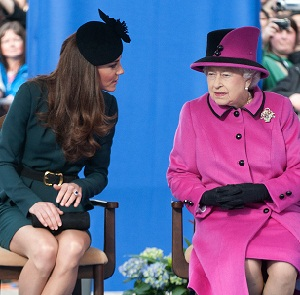 Kate Middleton and Queen Elizabeth chatting