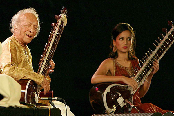 Ravi Shankar with daughter Anoushka Shankar