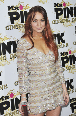 Lindsay Lohan with Mr. Pink drink