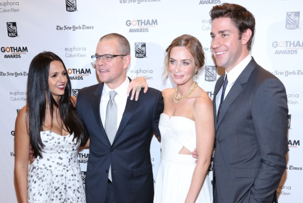 Matt Damon and wife Luciana with Emily Blunt and John Krasinski