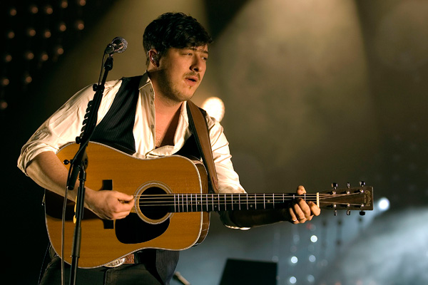 Marcus Mumford of Mumford and Sons perfoming a headline set at the SECC Glasgow, Scotland