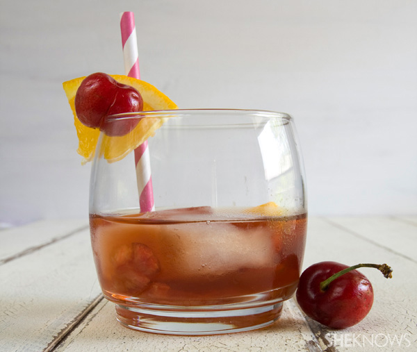 Cherry-infused bourbon old-fashioned cocktail