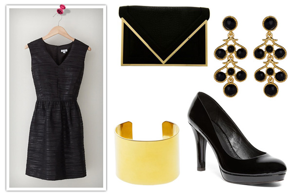 sleeveless Steven Allen dress -- holiday dinner look