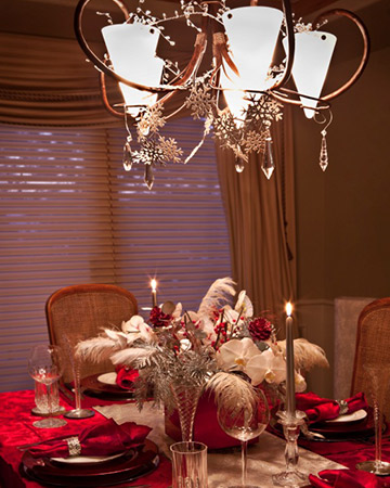 Surprising ways to decorate with christmas ornaments for Hanging ornaments from chandelier