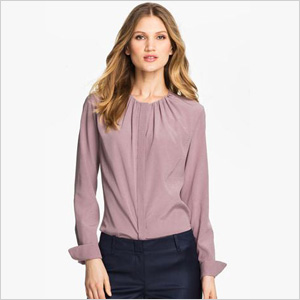 chic collarless silk stretch blouse