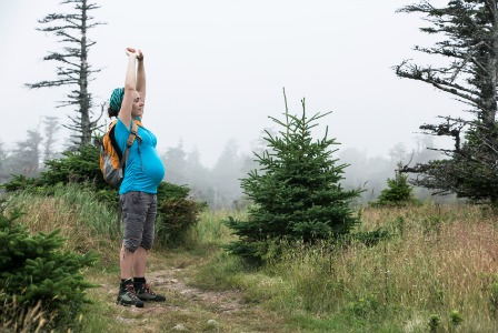 Pregnant woman on a hike