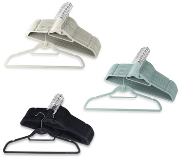 slim velvet hangers that you can buy at Bed, Bath, and Beyond