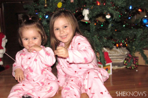 Jolene's matching Christmas pajamas picture