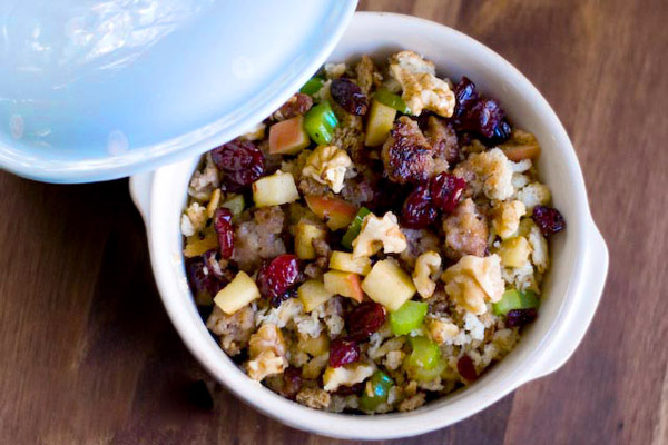 Savory holiday stuffing with apples and sausage recipe