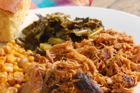 Pulled pork and collard greens