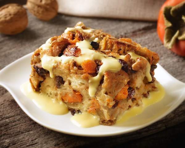 Captain Morgan persimmon bread pudding and crème anglaise