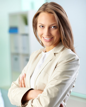Female executive with long hair