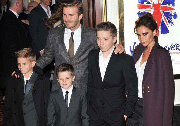 The Beckham family in Burberry