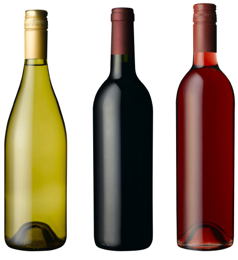isolated wine bottles