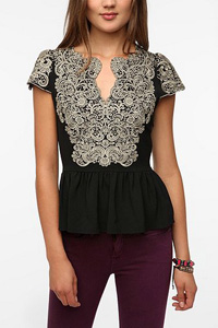 Embroidered Cap-Sleeve Blouse (UrbanOutfitters.com, $69)