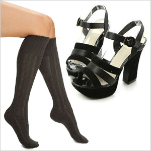 Stylish socks and heels