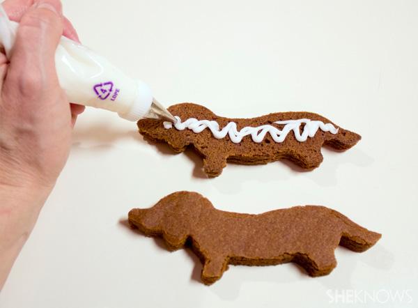Wiener dog Santa cookies -- frost