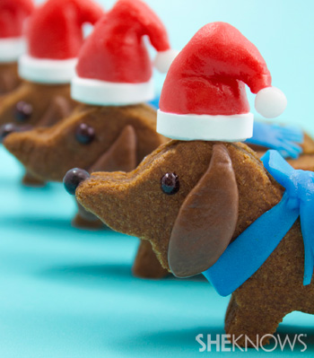 Wiener dog Santa cookies -- decorate