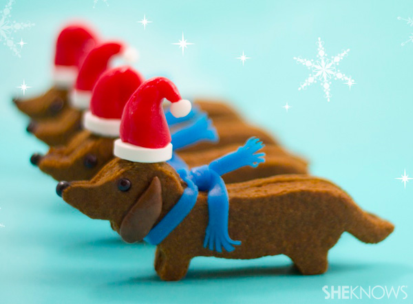 Wiener dog Santa cookies -- final