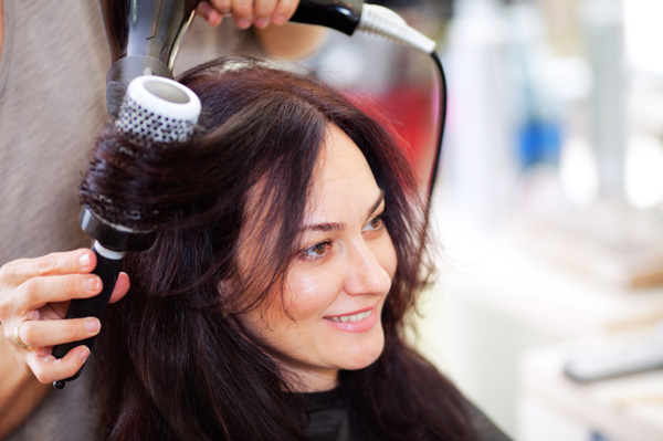 Woman getting her hair done