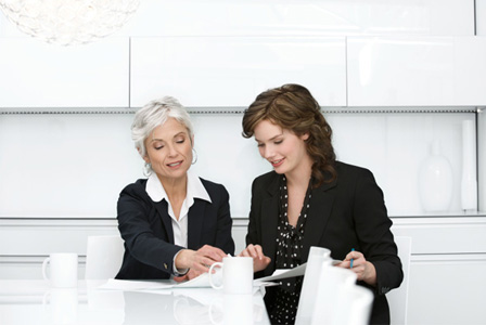Woman meeting with boss