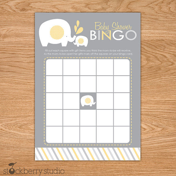 Baby Shower Bingo Party Game