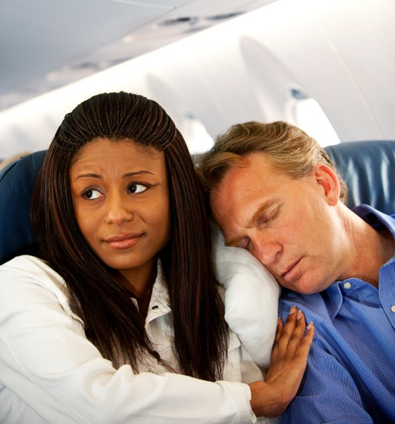 annoying neighbor sleeping on plane
