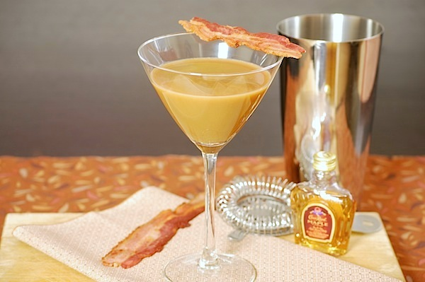 bacon-coffee-maple whiskey martini cocktail