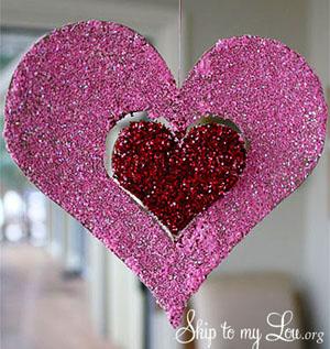 Glitter hanging heart