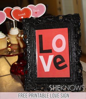 Free printable LOVE sign