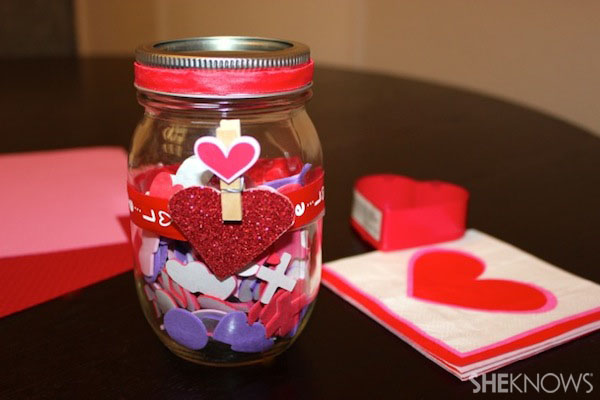 Valentine's Day mason jar with stickers