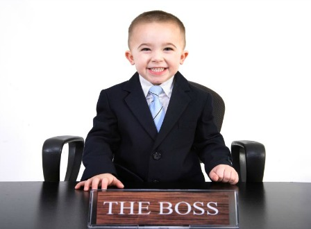 Little boy is the boss