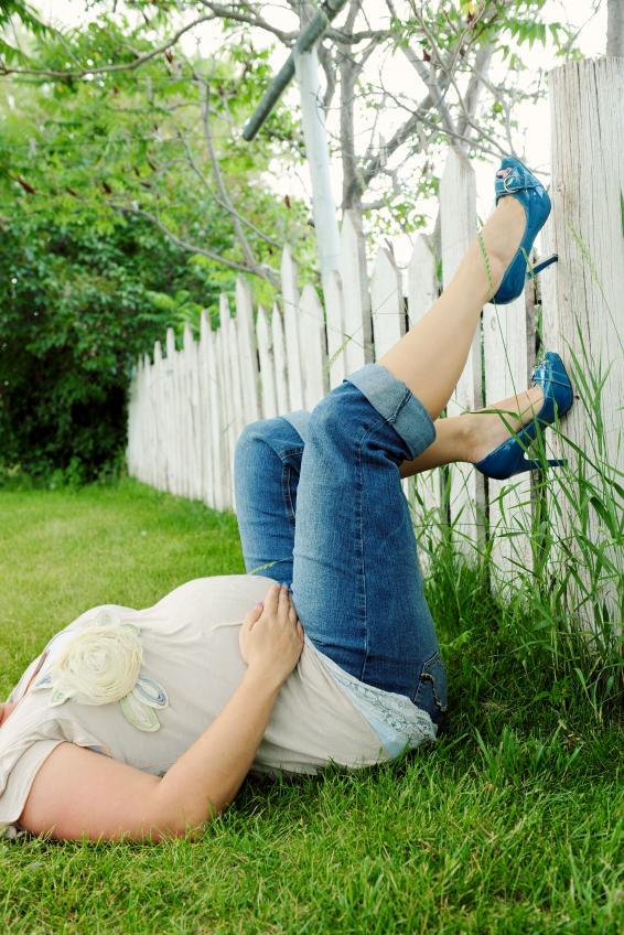 Pregnant woman in heels