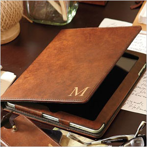 Saddle leather tablet case