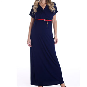 Blue with red belt maxi dress