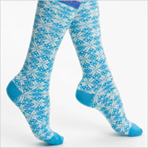 Snow Day blue crew sock