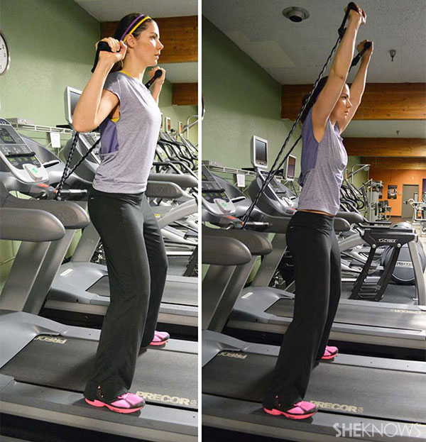 Resistance band shoulder press