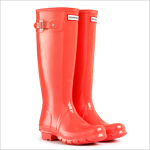 glossy red wellies