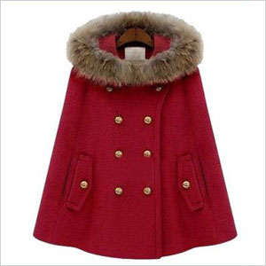 Sheinside Red Fur Hooded Cape