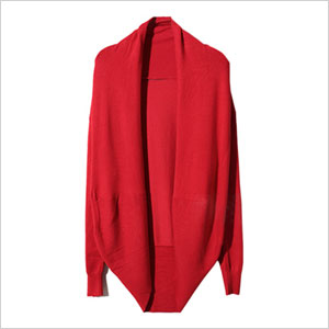 Romwe Asymmetric Neckline Red Cardigan