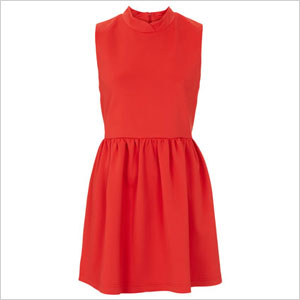 Red Petite Scuba High Neck Skater Dress