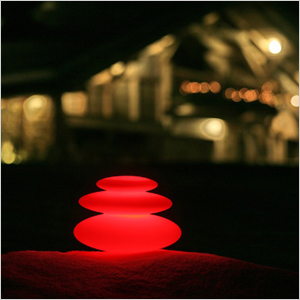 red stacked light stones