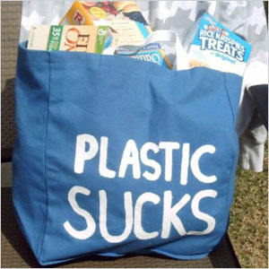 Plastic sucks statement bag