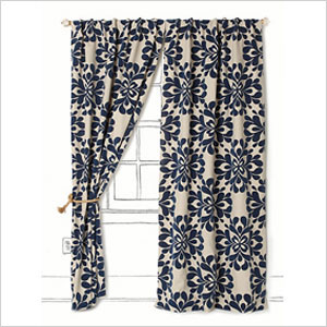 Blue floral curtains