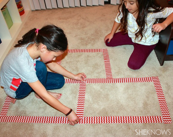 Rainy day activities - Indoor hopscotch