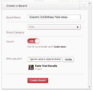 Create a secret Pinterest board