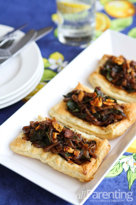 Caramelized onion, pancetta & chard tart