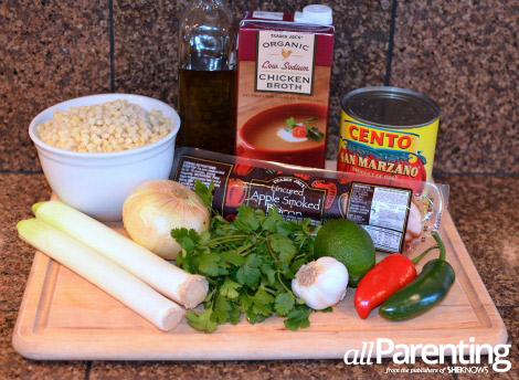 Spicy bacon, leek and corn soup ingredients