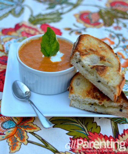 Tomato basil bisque and grilled truffle cheese