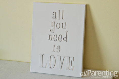 DIY wooden letters on canvas step 6